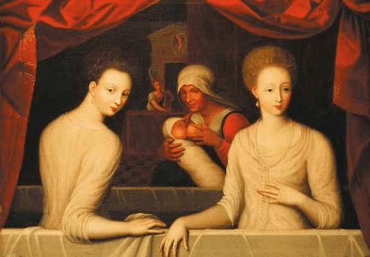 Presumed portrait of Gabrielle d'Estrées and the Duchesse de Villars in the Bath, late 16th century