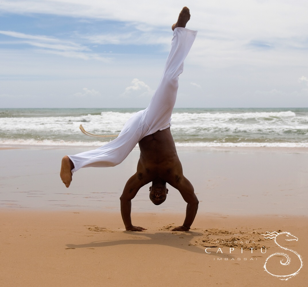 Capoeira players on the Imbassai beach