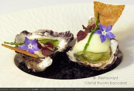 Restaurants Paris Passy - Cristal Room Baccarat - Huitre sur lit de caviar