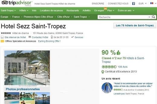 Certificat d'excellence Tripadvisor 2013 - Hotel Sezz Saint Tropez